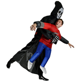 Wholesale Inflatable Men - OISK Unisex Adult Kids Skull Man Costume Inflatable Blown Up Ghost Inflatable Clothes Grim Reaper Carnival Parade Costumes