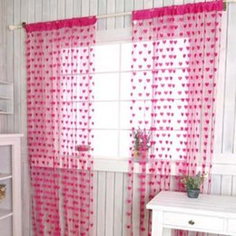 Wholesale Red Curtains For Living Room - Curtain 1m x 2 m Heart Shape Romantic Rose Red Line Curtain for Partition Wall Vestibule Door Magenta Polyester Decoration Curtain
