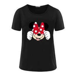 Wholesale Long Sleeve Red Crop Top - Cute Cartoon mouse print t-shirts for women tops sweet girl design t shirt casual young girl short sleeve crop top tshirt NV43 WR