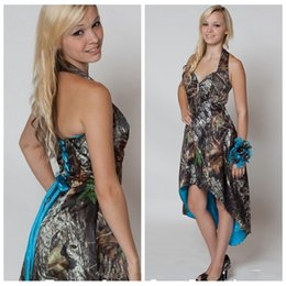 Wholesale Prom Camouflage Dresses - 2018 Halter Camo High Low Bridesmaid Dresses Camouflage Hi-Lo Satin Junior Bridesmaids Prom Party Gowns Cheap A-Line