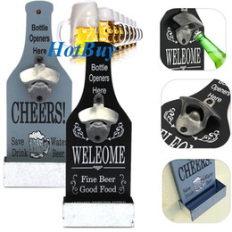 Wholesale Wall Mounted Bottle Openers Wholesale - Beautiful Retro Vintage American Country Stylish Wooden Wall Mount Beer Soda Top Bottle Opener With Cap Catcher Bar Pub Decor #3919