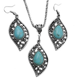 Wholesale Tibet Silver Turquoise Pendant Wholesale - Fashion Turquoise jewelry necklace earrings set Antique Silver leaves Turquoise Pendant necklaces+earring jewelry 2pcs Set for women