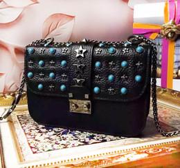 Wholesale Italian Cross - Top Quality Italian Rivet Chain Valentine Bag with Rhinestone and Five Stars Decorate Luxury Designer Caviar Leather Women Handbag V200