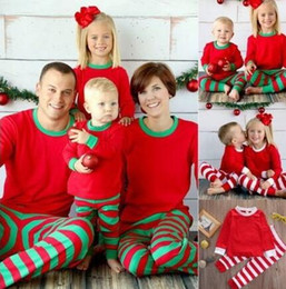 Wholesale Christmas Outfits 3t - Family Christmas Pajamas Outfits Red Green Striped Cotton Christmas Pajamas Father Mother Kids Baby Family Look Nightwear Clothing Sets 919