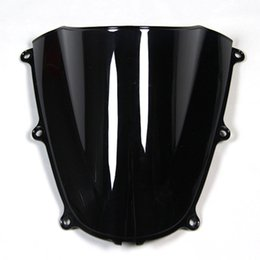 Wholesale Double Bubble Windshield - Injection ABS Double Bubble Blue Black Clear Windshield For Honda CBR600RR F5 Year 2005 2006 Motorcycle Windscreen