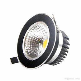 Wholesale Led Downlight Retrofit - LED Downlight COB Ceiling Recessed Down Light 9W 12W 15W Dimmable Retrofit Kitchen Bathroom Black DownLights AC 110-240V