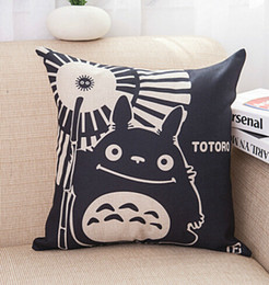 "Wholesale Totoro Square Cushion - Cotton Linen Throw Cushion Pillows Core Included Square Pillow Black Cartoon Totoro Home Textiles Seat Cushions for Sofa Decoration 18""X18"""