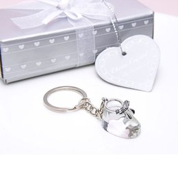 Zapatos favores online-Crystal Collection Baby Shoe Keychain llavero Bootie llavero bautizo regalos de boda Baby Shower Favors ZA4410