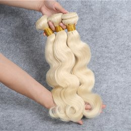 Wholesale Extension 26 Inch Blond - Brazilian Blond Hair Human Hair Weaves Malaysian Peruvian Indian European Body Wave Hair Bundles Best Quality Double Weft Hair Extensions