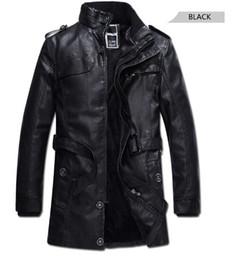 Wholesale long leather plus size coats - Fashion Men PU Leather Jackets Black Men Fur Lining Jackets Fit Winter Male Casual Coats Plus Size M-3XL