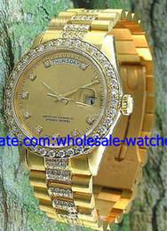Wholesale Mechanical Watche - Wholesale - Luxury 18K Gold Diamond Bands Perpetual Day Date Automatic Mens Watch Mechanical Sport Men's Watche