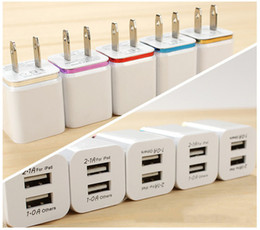 Wholesale Dual Usb Port Wall Adapter - 5V 2.1 1A 2-port Dual USB Wall Charger Travel USB Charger for iPhone Samsung Galaxy HTC Mobile Phones Adapter