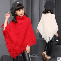 Wholesale Winter Cape Children - Big girls shawl scarves kids knitting high collar poncho children tassel lace cape christmas Gown winter girl princess warm coat R0018