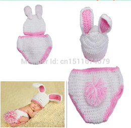 Wholesale Baby Knitted Set White - Free shipping Bunnies white Rabbit baby Animal Unisex Costume handmade Knit crochet photography props hats Cap Newborn sets L&B animal backp