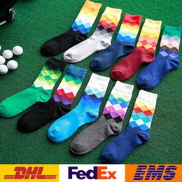 Wholesale Dhl Huf - DHL Adult Men Cotton Stocking Fashion Spring Autumn Coforful Athletic Sport Basketball Football Knee Long Socks WX-S04