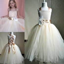Wholesale Christmas Corset Dress - 2017 New Cheap Cute Princess Ball Gown Flower Girl Dresses Halter Neck Lace Bodice Flower Corset Back Formal Girl's Pageant Dresses MC0222