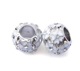 Wholesale Wholesale Enamel Crystal Spacer Beads - 2016 Silver CZ Crystal Enamel Charm Bead Cherry Flower Big Hole European Spacer Beads Fit Pandora Chamilia Biagi Charm Bracelet