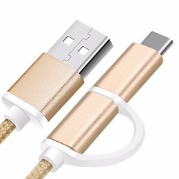 Wholesale Mobile Phone Charger Wire - 1m Type C 2 In 1 Type-C Wire Mobile Phone Cable with Micro USB Charger Cables for Samsung HTC HUAWEI Lenovo USB Data Line