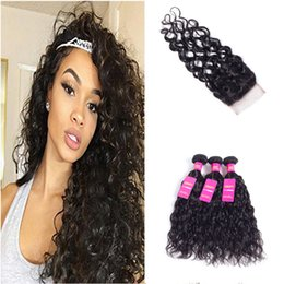 Wholesale Natural Virgin Human Hair Bulk - Water Hair with Lace Closure Brazilian Water Wave Human Virgin Hair 4 Bundles with Closure Water Weave 16 18 20 22 with 14Free