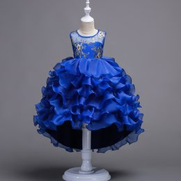 Wholesale Girls Childrens Dresses - 2017 childrens layered evening princess dresses kids party clothes baby girls high quality clothing toddler ball gown dress for 100-170cm