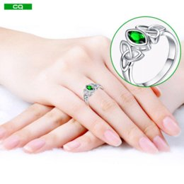 Wholesale Gold White Ring Women Emerald - CQueen Knot Jewelry Chic Engagement Rings Green Emerald 18K White Gold Plated Fashion Ring for Women Lady 2015 New High Quanlity