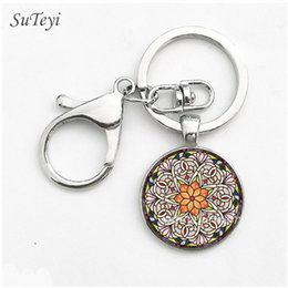 Wholesale Religious Key Chains - Charms Henna Art Picture Glass Keychain Crystal Religious Spirital key Chain Bag Car Accessories Key Ring Handmade Jewelry Gift