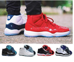 Wholesale Womens Basketball Shoes Size 11 - 2017 Retro 11 Gym Red Retro 11S Space Jam Chicago UNC Win like 82 Men Womens Kids Basketball Shoes 72-10 High Athletic Sport Sneakers 36-47