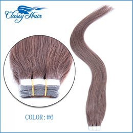 Wholesale Ash Hair Extensions - Medium Ash Brown Straight Adhesive Skin Wefts Tape In Human Hair Extensions PU Tape Hair 20pcs set 16 18 20 22 24 inches Large Stock