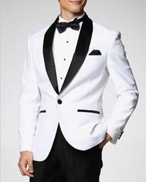 Wholesale Wool Shawls Sale - Custom Made One Button Shawl Lapel Men Wedding Suits Classic Slim Fit Groom Tuxedos Hot Sale Wedding Party Prom Formal Gowns (Jacket+Pants)