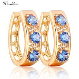 Wholesale Sapphire Cz Earrings - Gorgeous 18K Yellow Gold Plated Three Round Blue Sapphire and CZ Accent Hollow U Huggie Hoop Earrings Jewelry for Women bijoux