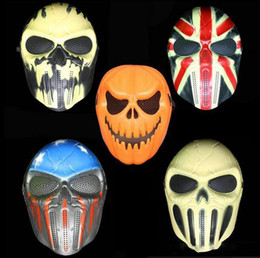 Wholesale Cacique Mask - Halloween Pumpkin Mask Skull Zombie Field Equipment Cacique Mask Personality CS Skeleton Warrior Masks Drop Shipping Party Supplies