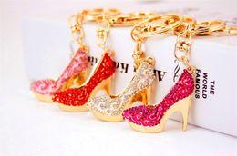 Wholesale high heel shoe pendants - Crystal High Heels Shoes Key Chains Rings Holder Flower Enamel Bag Pendant For Car Keyrings KeyChains