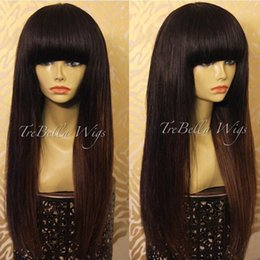 Wholesale Chinese Bangs Black Women - New Arrival Peruvian Human Hair Full Fringe Wig Human Hair Glueless Full Lace Wig With Bangs Bleached Knots For Black Women
