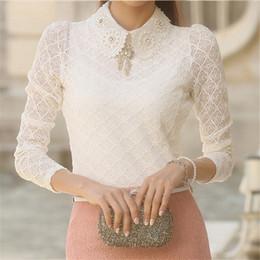 Wholesale Korean Formal Woman Shirt - Women Lace Blouses 2016 Summer Autumn New Fashion Elegant White Femininas Long Sleeve chiffon Blouse Korean Style Women Shirt