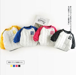 Wholesale Cute Jackets Free Shipping - INS autumn winter kids girl boy hot selling cute Stereo number 69 embroidery warming Cotton padded jacket free shipping