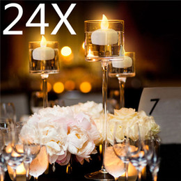 Wholesale Wholesale Led Candles For Wedding - 24pcs Waterproof Floating LED Submersible Flicker Flameless Candle Mini Tea Table Light For Christmas Wedding Decoration Holiday Party