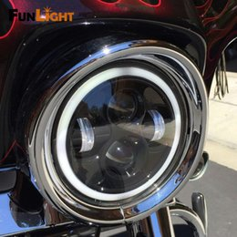 """Wholesale Halo Led Projector - Free shipping 7"""" Motorcycle Car LED Headlight 40W Halo Lamp Projector with Angel Eye for Harley Davidson Led headlamp"""