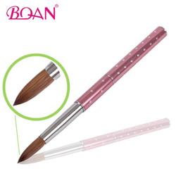 Wholesale Acrylic Hair Brushes - Wholesale- 10 Pcs Brush #10 Kolinsky Sable Hair Brush Pink Metal Handle Acrylic Brush Free Shipping