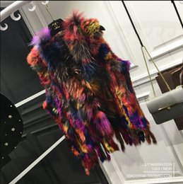 Wholesale Knitted Fur Vest Plus Size - Wholesale-Fashion Womens Real Knitted Rabbit Fur Vests with Raccoon Fur Collar Gilets High Quality Close-woven Waistcoat Plus Size