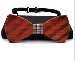 Wholesale Unique Neck Ties - Unique Handcrafted Mens Wooden Bow Ties Neck Custom Designer Europe America Style 8 Styles Handmade for Wed Gift Wenge Rosewood Wholesale