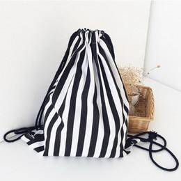 Wholesale String Gym Bags - Wholesale-Black White Stripe Printing Drawstring SackPack Bag Women Men Canvas Backpack Gym Bag Beach Bag Travel Sport Bag Korean Style