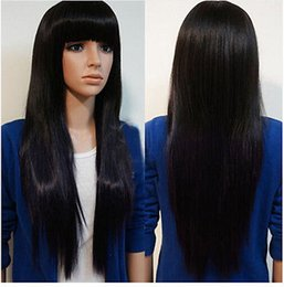 Wholesale Womens Size Small - 100% Brand New High Quality Fashion Picture wigs >>New Womens Long Brazilian Black Straight Natural Remy Wig Hair Full Wigs