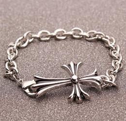 Bracelet en argent à la mode pour hommes Bracelet en argent antique plaqué GD alliage 19cm Bracelet crucifix pour hommes femmes ? partir de fabricateur