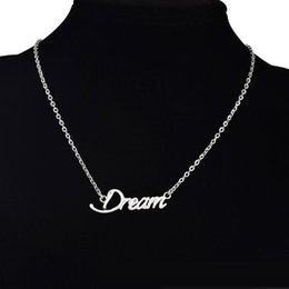 Wholesale Word Stamped Wholesale Charms - Gold Silver Plated Tiny Stamped Dream Letters Necklace Simple Lucky Word Good Luck Necklaces for Friends free shipping