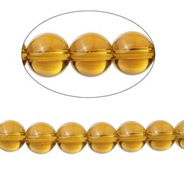 Wholesale Yellow Loose Beads - Citrine(Imitation)Loose Beads Round Smoke yellow Transparent About 10mm Dia,38.6cm long,1 Strand(About 40 PCs) 2016 new