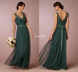 Wholesale Emerald Train Dress - Elegant Emerald Green Long Bridesmaid Dresses 2016 Sheer V Neck Open Back Sash Floor Length Maid of Honor Dress Wedding Guest Formal Gowns