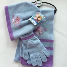 Wholesale Wholesale Knitted Glove - Girls cartoon knitting Hat Gloves Scarf 3pc sets 3styles Frozen 3 Piece Beanie Set Children Princess Elsa Anna warm cap sets accessories