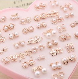 Wholesale Small Pearl Gold Earrings - Korea 18K gold color retention pearl earrings 36 pairs of earrings hypoallergenic boxed a dozen wild earrings small jewelry Alloy Heart-s