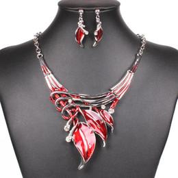 Wholesale Earrings Women Leaves - 6 Sets lot Brand New Enamel Jewelry Statement Earrings & Necklace Set for Women Crystal Leaves Jewelry Set Free Shipping[GE06593*6]