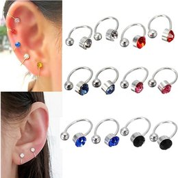 Wholesale Nose Jewelry Cheap - 2pcs New Ear Clip Cuff Wrap Earrings Crystal Rhinestone Nose No piercing Clip on Women Men Party Jewelry Cheap Free Ship